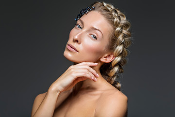 Beautiful girl with thick french braid