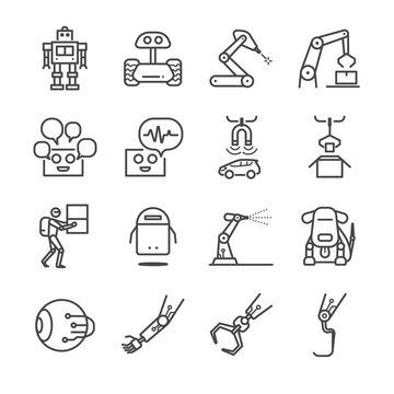 Robotic and factory machine icons set
