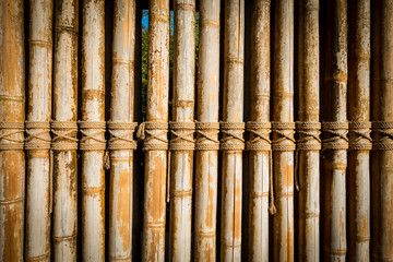 Wooden Bamboo fence wall pattern for background.