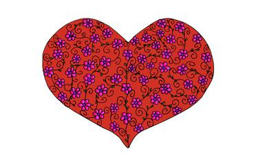 Valentinsherz mit floralem Muster rot und rosa
