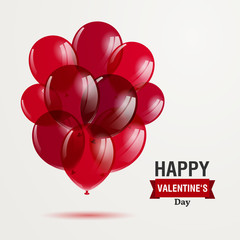 Vector Illustration of a Happy Valentines Day Design with Red Balloons