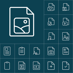 thin line photo file, gallery icon on blue background, document