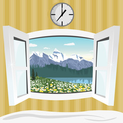 open window with summer mountain landscape view