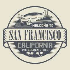 Stamp with airplane text Welcome to California, San Francisco