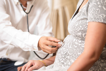 Doctor examining pregnant woman.