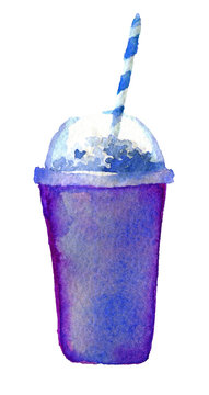 watercolor sketch of cocktail plastic glass on white background