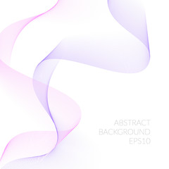 Abstract background with pink ribbons of the lines.