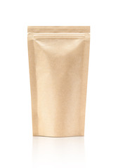 blank packaging recycle kraft paper pouch isolated on white