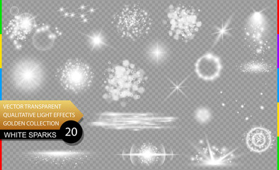 Isolated white sparks. Glow transparent vector light effect set, lens flare, explosion, glitter, spark, sun flash, and star burst. Abstract translucent special element design. Shine sparkling round