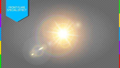 Vector transparent sunlight special lens flare light effect. Translucent sun flash with rays and spotlight. Golden warm spring or summer shine