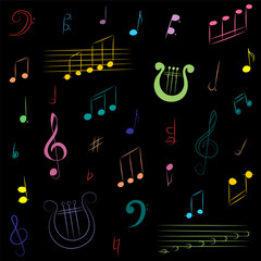 Hand Drawn Set of  Music Symbols. Colorful Doodle Treble Clef, Bass Clef, Notes and Lyre on Black. Vector Illustration.