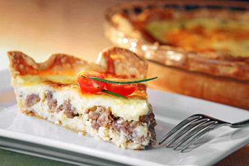 Sausage, egg, and cheese quiche