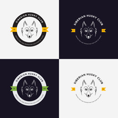 Husky head flat logo vector set. Set of vintage logo and logotype elements for pet shop, pet house, pet and exotic animals clinic.
