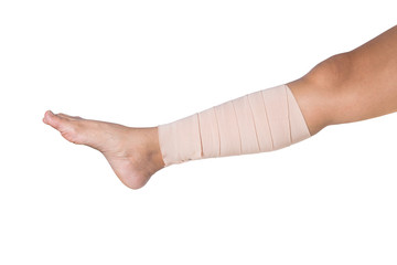 Medicine bandage on human leg isolated