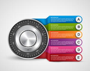 Infographic design template. Protection information. Combination safe lock design concept.