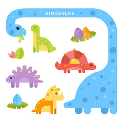 Set of cute dinosaurs for kids. Vector flat illustration.