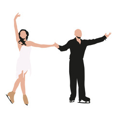 Figure skating pair after the show thanks. Abstract vector illustration