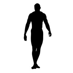 Muscular man standing and posing, vector silhouette