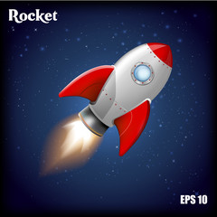 Vector illustration. Flying rocket.
