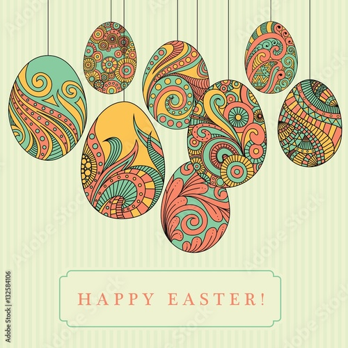 Easter Card Colorful Eggs With Abstract Patterns Doodle Art