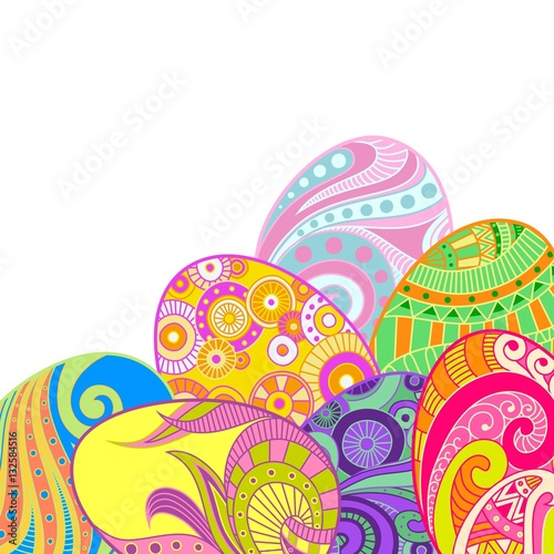 Colorful Easter Eggs With Abstract Patterns Background