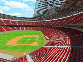 3D render of baseball stadium with red seats and VIP boxes