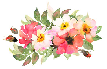 Flower bohemian bouquet with pink and red roses.  Watercolor ill