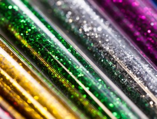 Colorful glitters in plastic packaging,