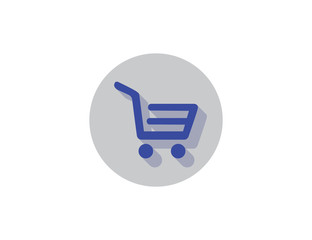 Vector modern store market shopping cart with long shadow
