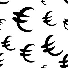 Black euro money different sizes. Seamless pattern. Vector illustration