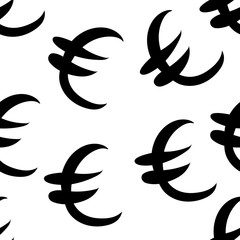 Black euro money same sizes. Seamless pattern. Vector illustration