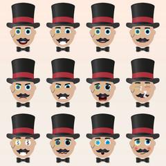 Set of cute magician emoticons.