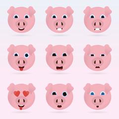 Set of cute pig emoticons.