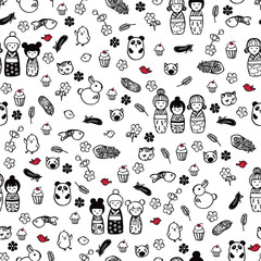 Miniatures in the anime style. Seamless pattern.