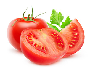 Isolated tomato. Whole and cut fresh tomatoes isolated on white background with clipping path