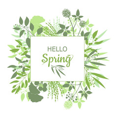 Hello Spring green card design with text in square floral frame
