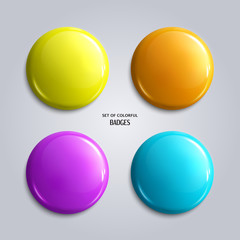 Vector set of blank, colorful glossy badges or web buttons. Four bright colors, yellow, orange, blue and purple. Vector.