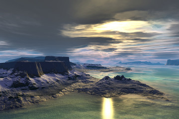 Alien planet. Sunrise. 3D  rendering