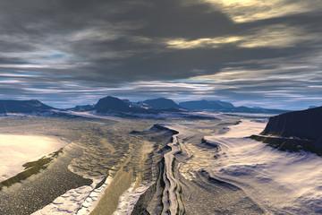 Fantasy alien planet. Mountain. 3D illustration