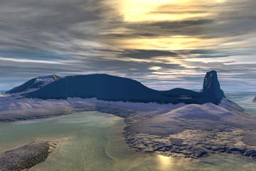 Alien planet. Sunrise. 3D  rendering
