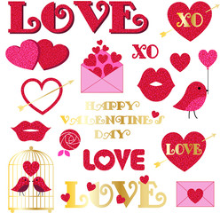 Glitter valentines day clipart
