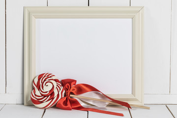 Picture frame and lollipop