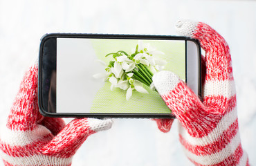 taking a photo of Snowdrops bouquet