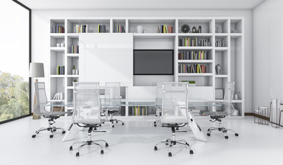 3d rendering meeting business room with white design