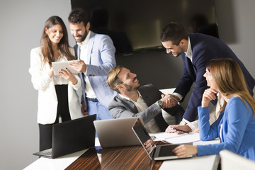 Team building in a modern office