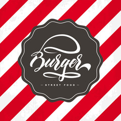 Hand lettering burger food logo design