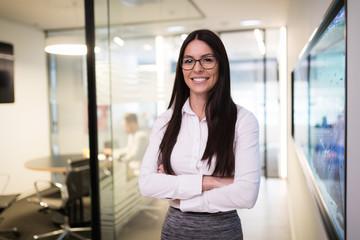 Portrait of happy successful businesswoman