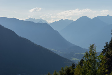 Mountains and peaks landscape. Kühtai glacier, natural environment. Hiking in the Stubai Alps. Sellrain valley, Tirol, Salzburg, Austria, Europe