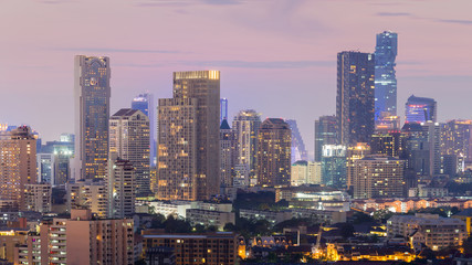 Bangkok city office building night lights, cityscape downtown background