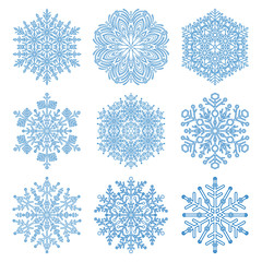 Set of vector light blue snowflakes. Fine winter ornament. Snowflakes collection. Snowflakes for backgrounds and designs